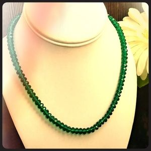 Vintage Emerald Green Glass Crystal Necklace